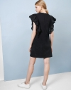 Ruffle Sleeve Shift Dress With Embroidery