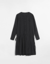 Long Sleeve Gather Drawstring Embroidered Dress