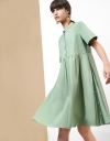 Short Sleeves Gathered Shirt Dress With Pleats