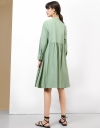 Long Sleeves Gathered Shirt Dress With Pleats