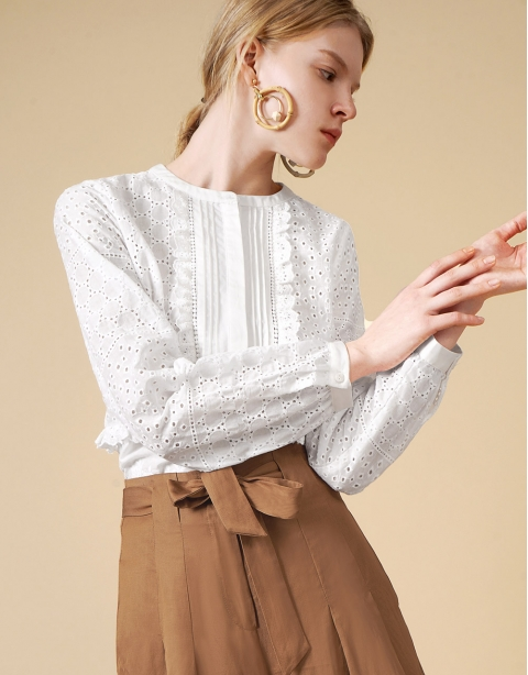 LIMITED EDITION Long Sleeve Broderie Anglaise Shirt