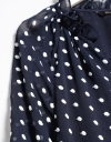 Long Sleeves Contrast Dotted Blouse