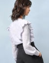 Long Sleeve Translucent Texture Pleats Top