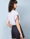 Translucent Texture Pleats Top