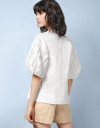 Oversized Contrast Blouse with Shirring