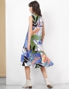 Tropical Print Topstitch Midi Dress