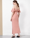 Convertible Off-Shoulder Ruffle Midi Dress