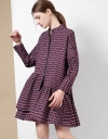 Long Sleeve Checks Shirt Dress