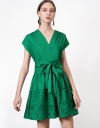 Wrap Tied Dress With Embroidery