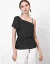 Asymmetric Tied Top with Pleats