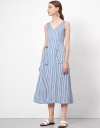 Striped Art Midi Dress with Buttons