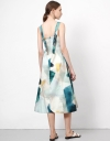 Tropical Art Midi Dress with Buttons