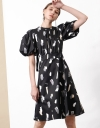 Puff Sleeve Midi Dress with Art Print