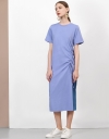 Ruched Gather Midi Dress with Contrast