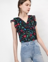 Ruffle Front Frill Sleeve Top