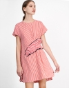 Stripe Shirt Dress with Pleated Detail