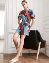 Graphic Print Puff Sleeved Romper