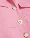 Floral Button Shirt Top with Patch Pockets