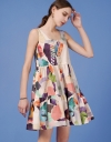 Button-up Printed Tier Dress
