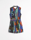 Abstract Print Button-up Belted Romper