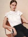 Ruched Round Neck Lace Top
