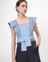 Square Neck Lace Overlay Self-Tie Waist Top