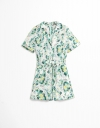 Printed Romper with Shirt Collar