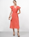 V-neck Tier Dress with Gather Sleeves