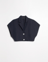 Short Top with Suit Collar