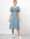 Puff Sleeve Midi Dress with Ruch Front