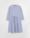 Button-up Front Sleeved Dress with Pleat Detail Front