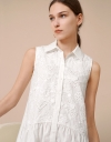 Flare Shirt Dress with Embroidery Front
