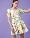 Square Neck Art Printed Dress with Tie Waist