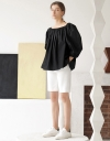 Cold Shoulder Pleated Top with Puff Sleeve