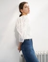 Square Neck Long Sleeve Lace Top