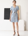 V Neck Button Down Front Tied Waist Dress