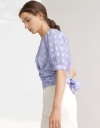 Wrap Front Blouse in Jacquard Weave