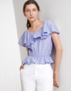 V Neck Ruffle Trims Top with Tie Open Back