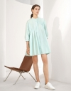 Ruched Detail Button Up Front Shirt Dress with Pleats