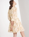 Pleat Detail Floral Print Broderie Dress with Roll Up Cuff