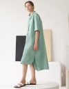 Flared Sleeve Front Buttoned Maxi Dress