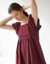Ruffled Square Neck Dress with Lace Inserts