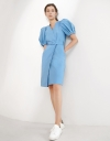 V Neck Wrap Belted Dress with Cutout Back