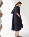 Flared Sleeve Contrasting Coloured Placket Maxi Dress