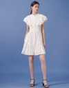 Button-down Broderie Dress with Ruffled Shoulders