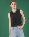 Fil-coupé Laced Neck Top with Ruffled Hem