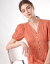 V-Neck Button-up Tier Lace Dress with Puff Sleeves