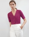 V Neck Buttoned Rib Knit Top with Short Sleeve