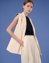 Sleeveless Lapel Vest with Tied Back