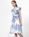 V-Neck Printed Dress with Side Tie Detail